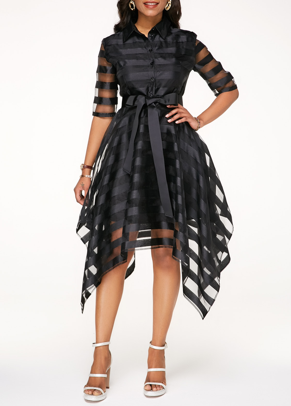 Black Half Sleeve Belted Sheer Striped Dress