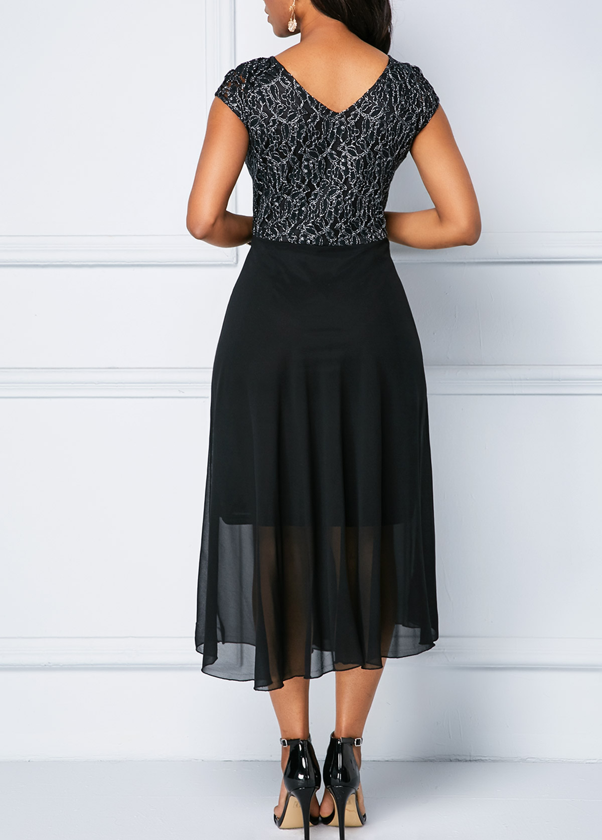 Cap Sleeve Lace Patchwork Chiffon Dress