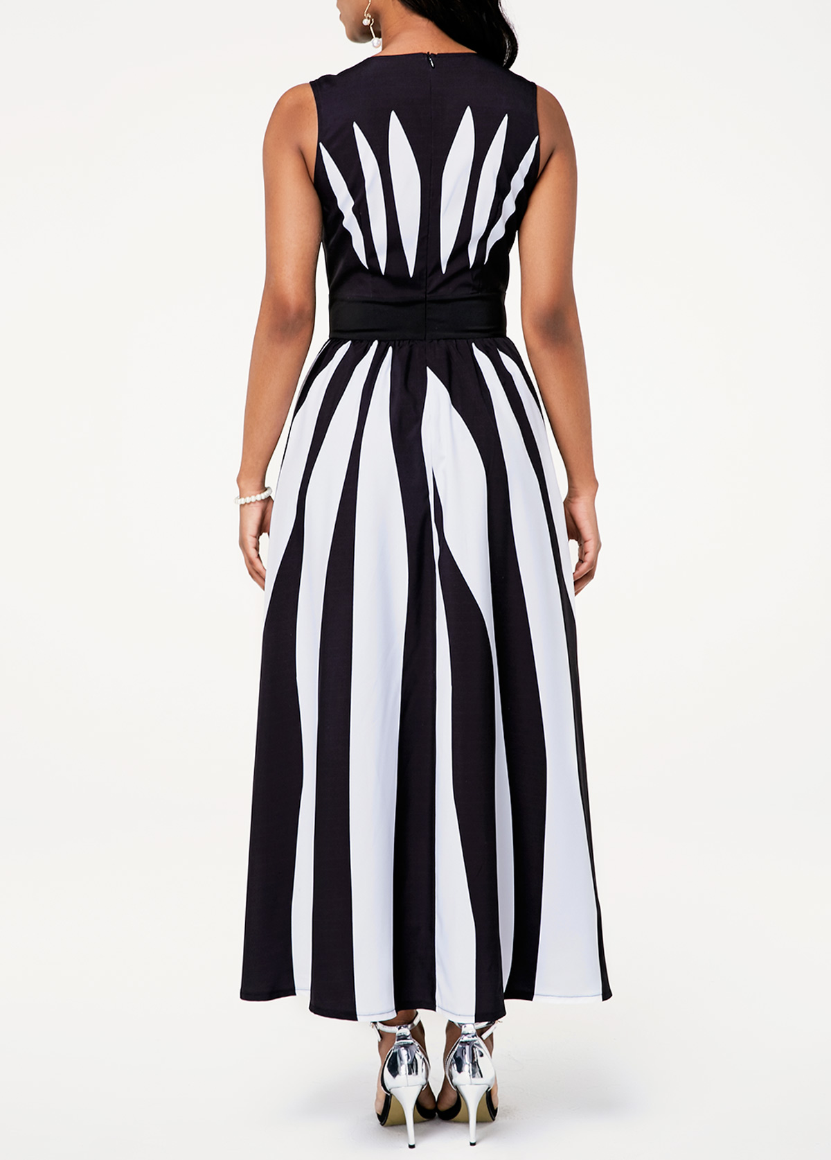 Color Block Sleeveless High Waist Stripe Print Dress