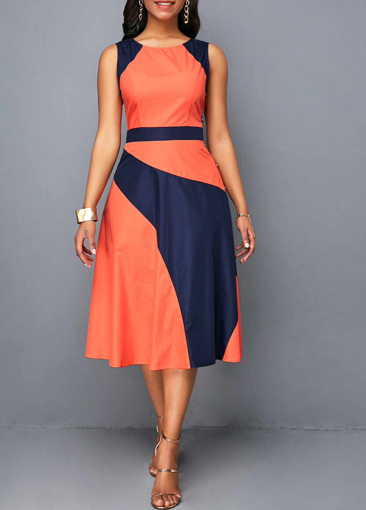 Sleeveless High Waist Button Detail Dress