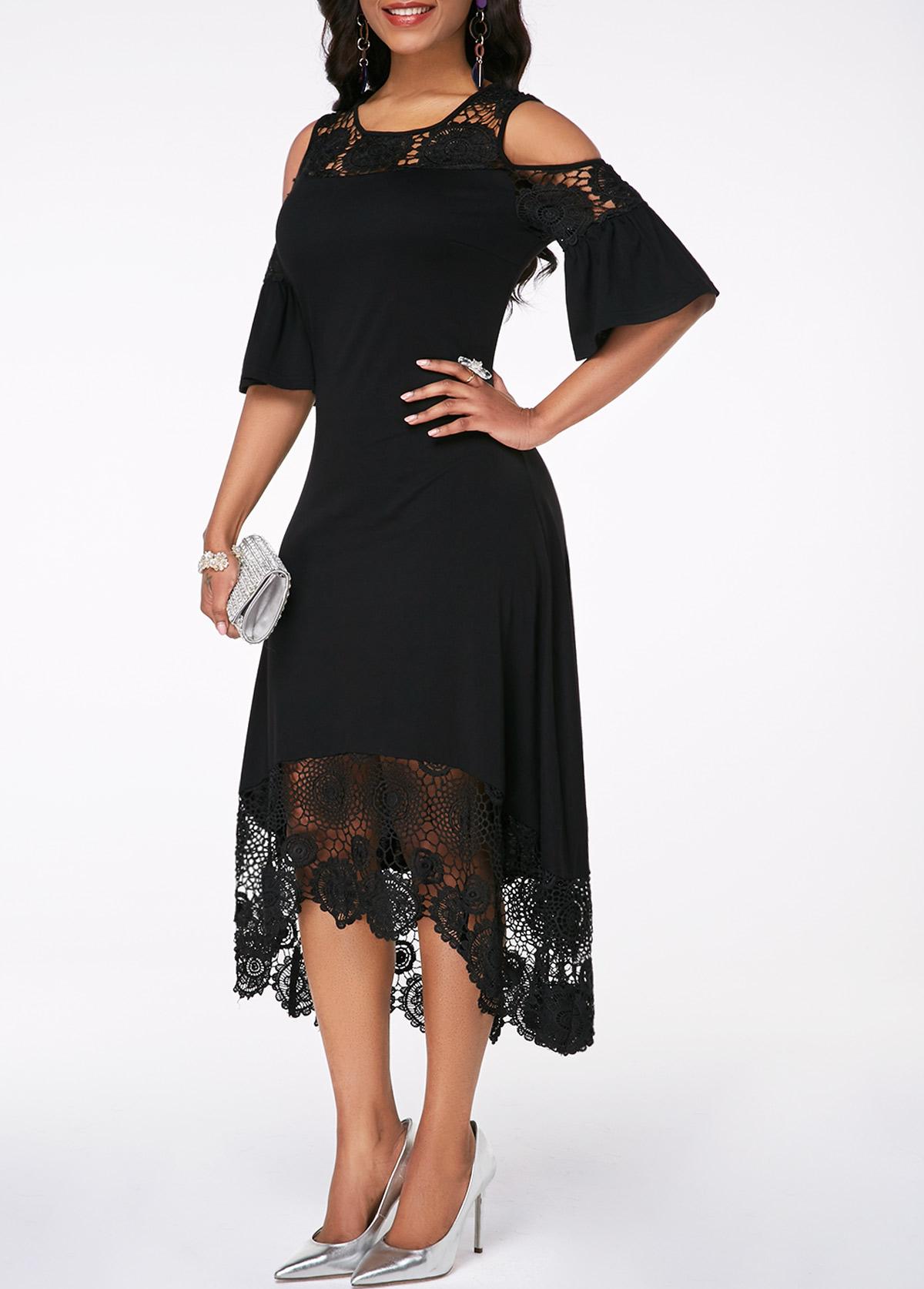 Flare Sleeve Cold Shoulder Lace Detail Dress