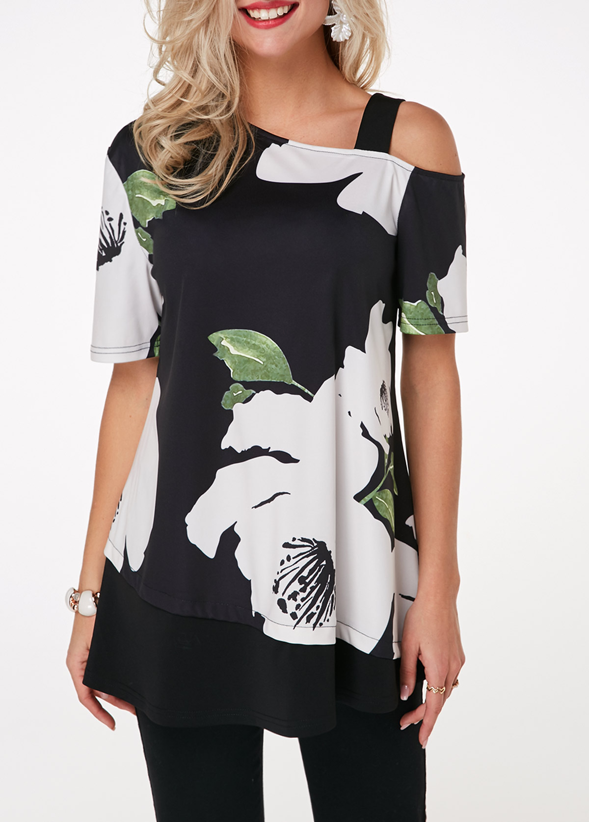 Short Sleeve Flower Print Cold Shoulder T Shirt
