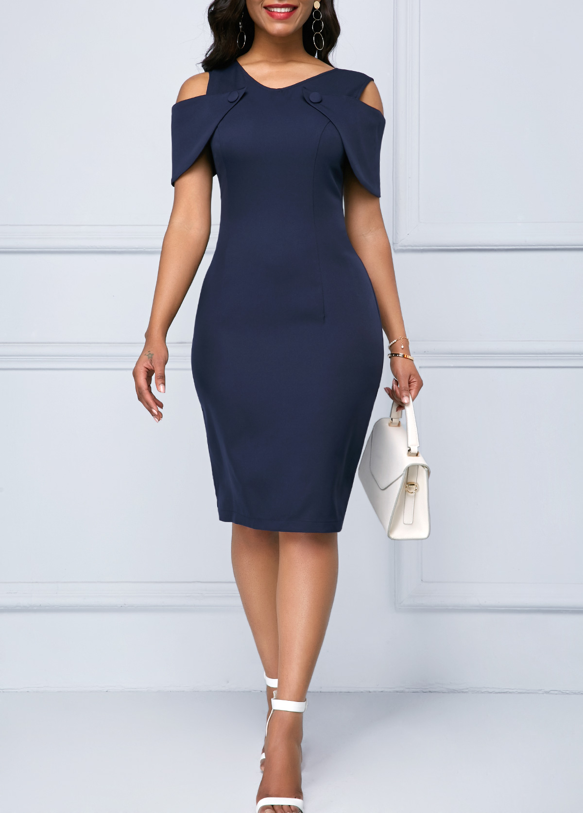 59826038 Navy Blue Cold Shoulder Lace Patchwork Sheath Dress | Rosewe.com ...