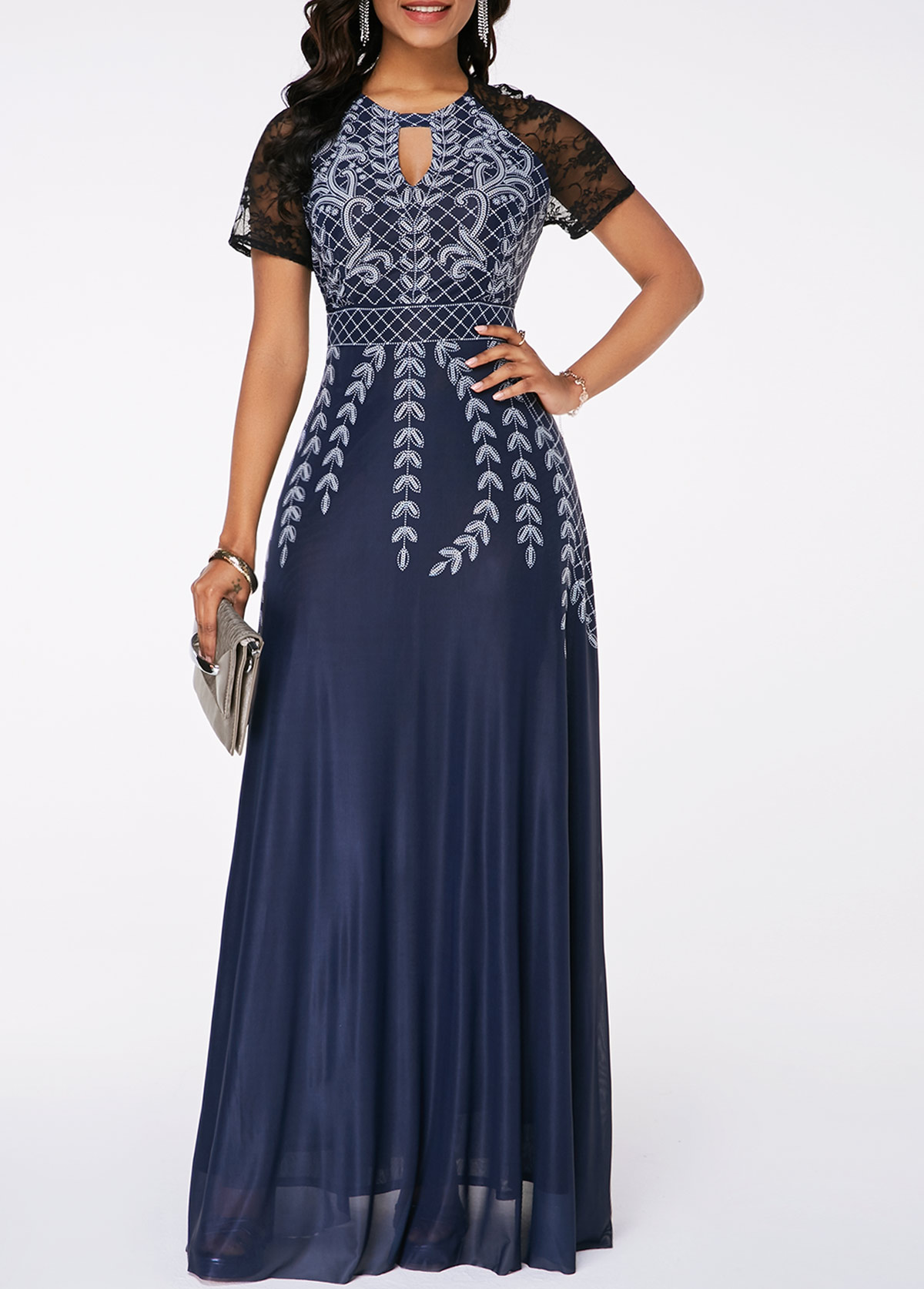 Lace Panel Printed High Waist Maxi Dress