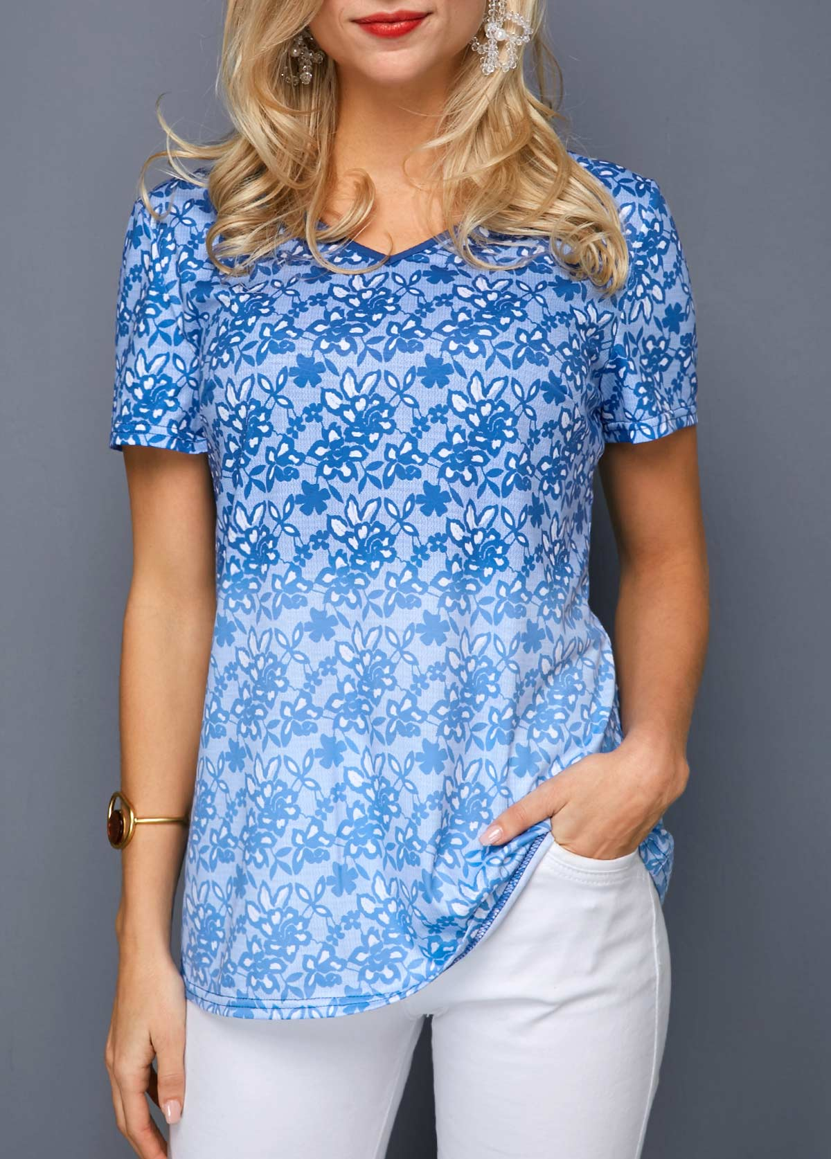 Printed V Neck Blue Gradient T Shirt
