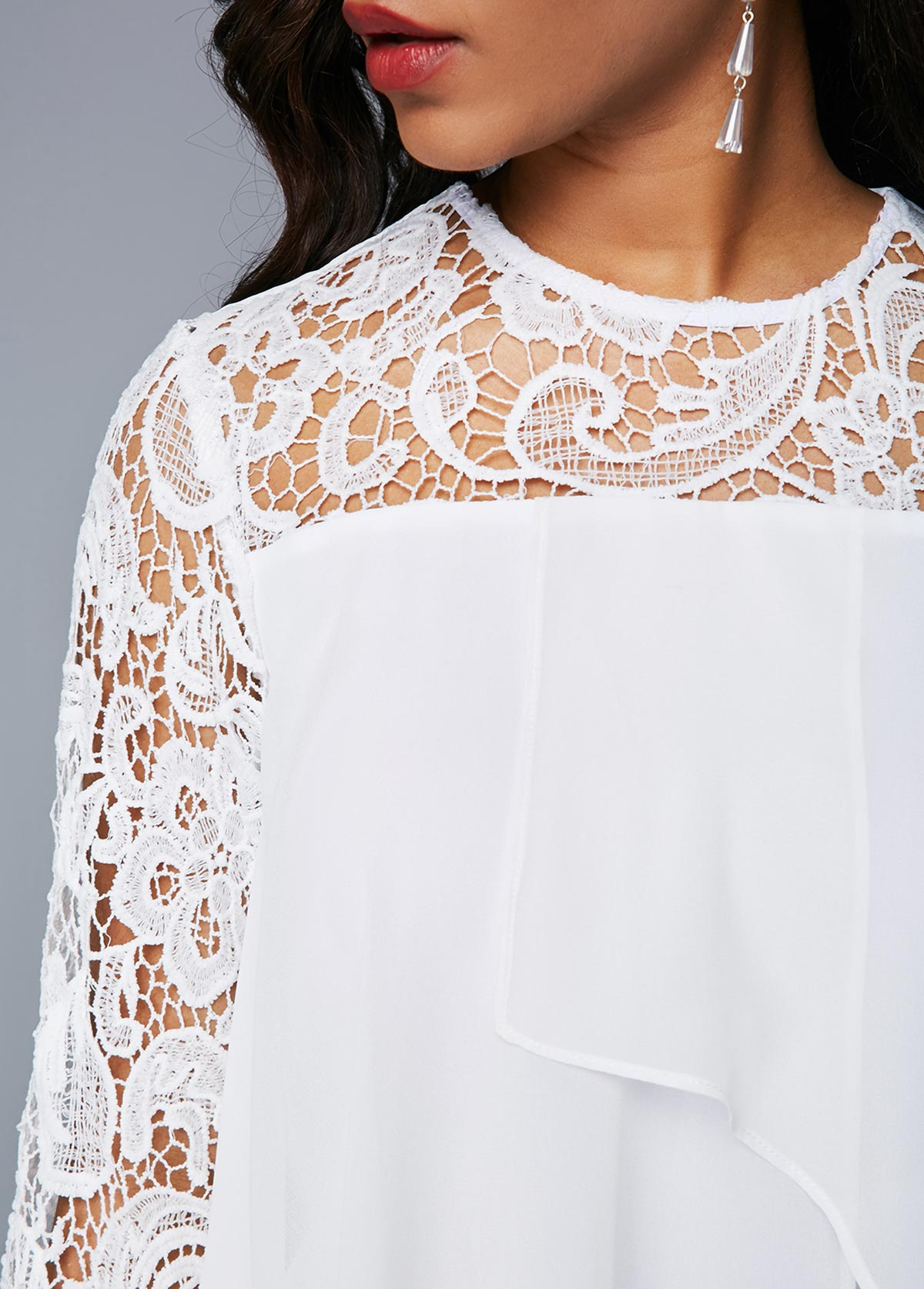 White Flyaway Round Neck Lace Patchwork Dress