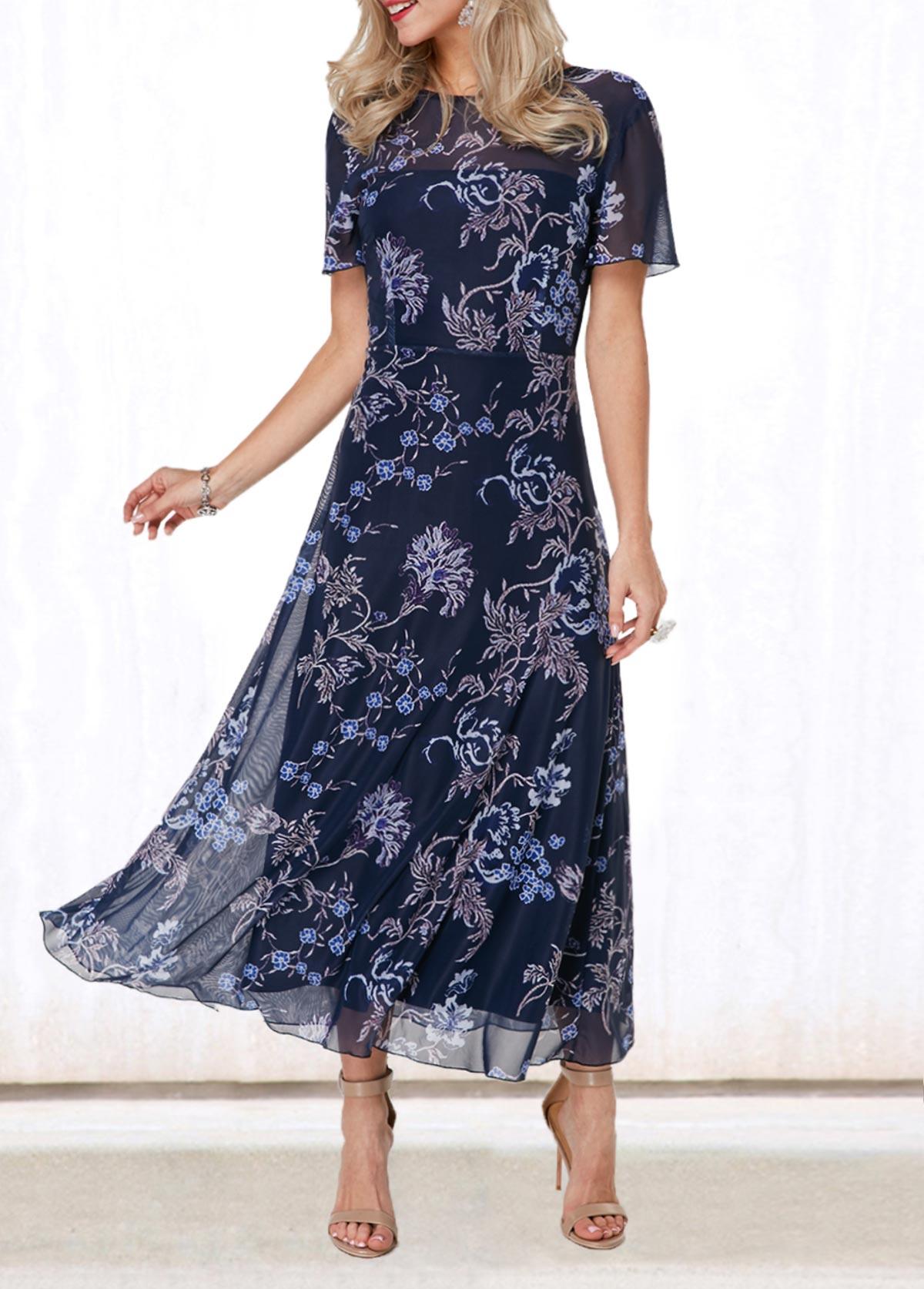 Flower Print V Back Round Neck Dress