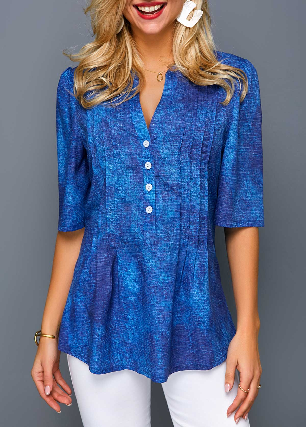 Half Sleeve Crinkle Chest Button Front Blouse