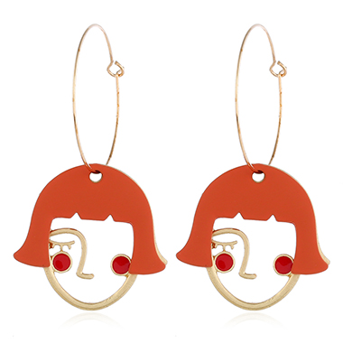 Abstract Face Orange Red Earrings for Women