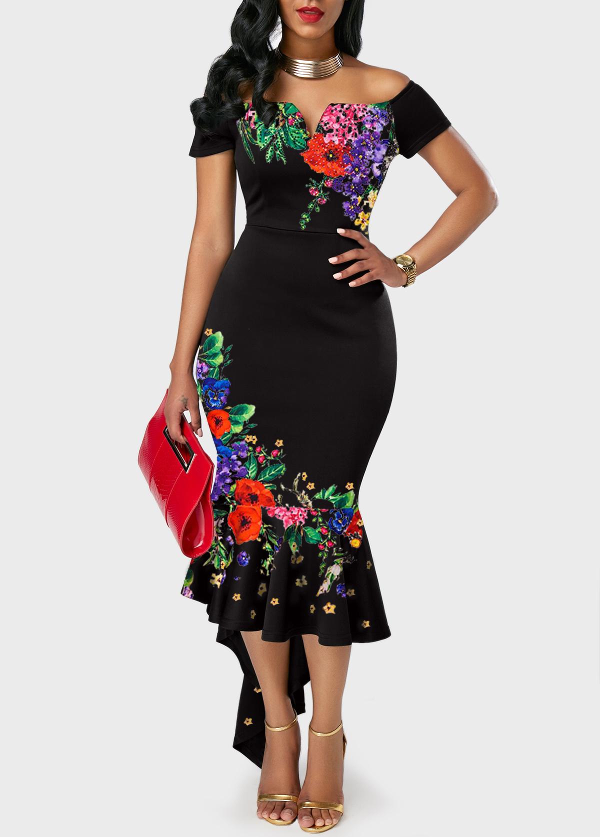 Off the Shoulder Retro Flower Print Black Sheath Dress