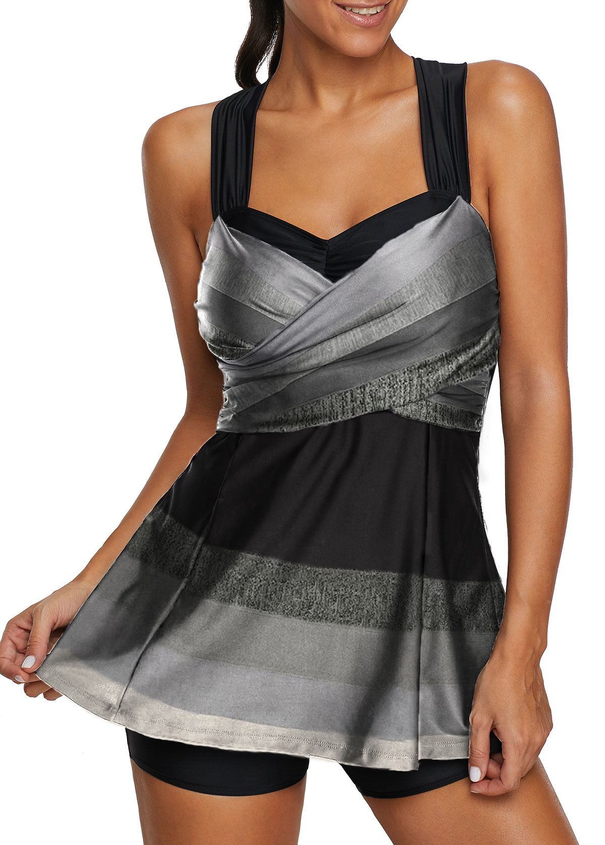 Striped Wide Strap Criss Cross Back Swimdress and Shorts
