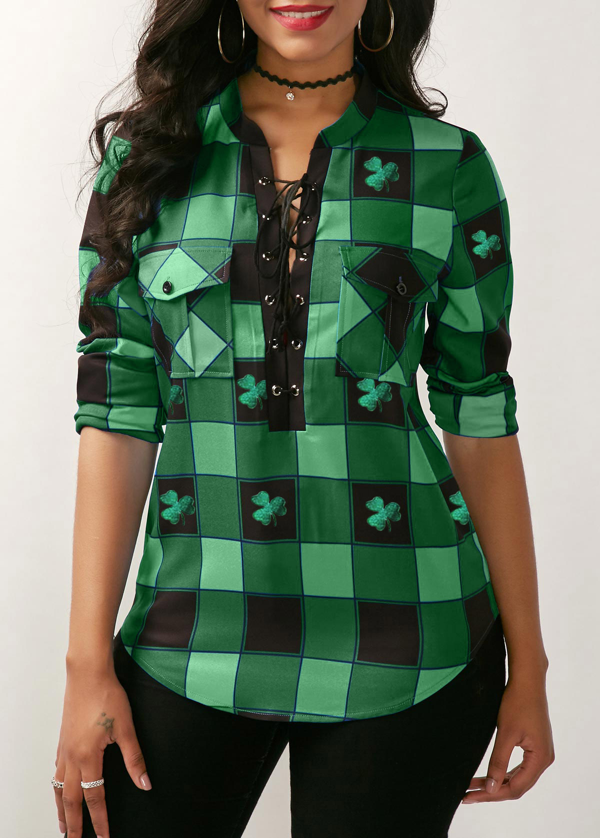 Lace Up Front Plaid Print ST Patricks Day Blouse