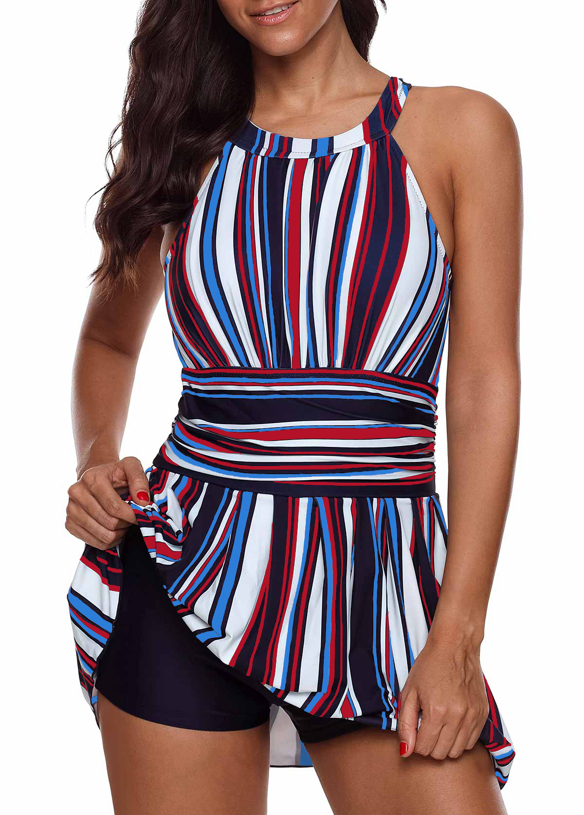Padded Multicolor Striped Cutout Back Swimdress and Shorts