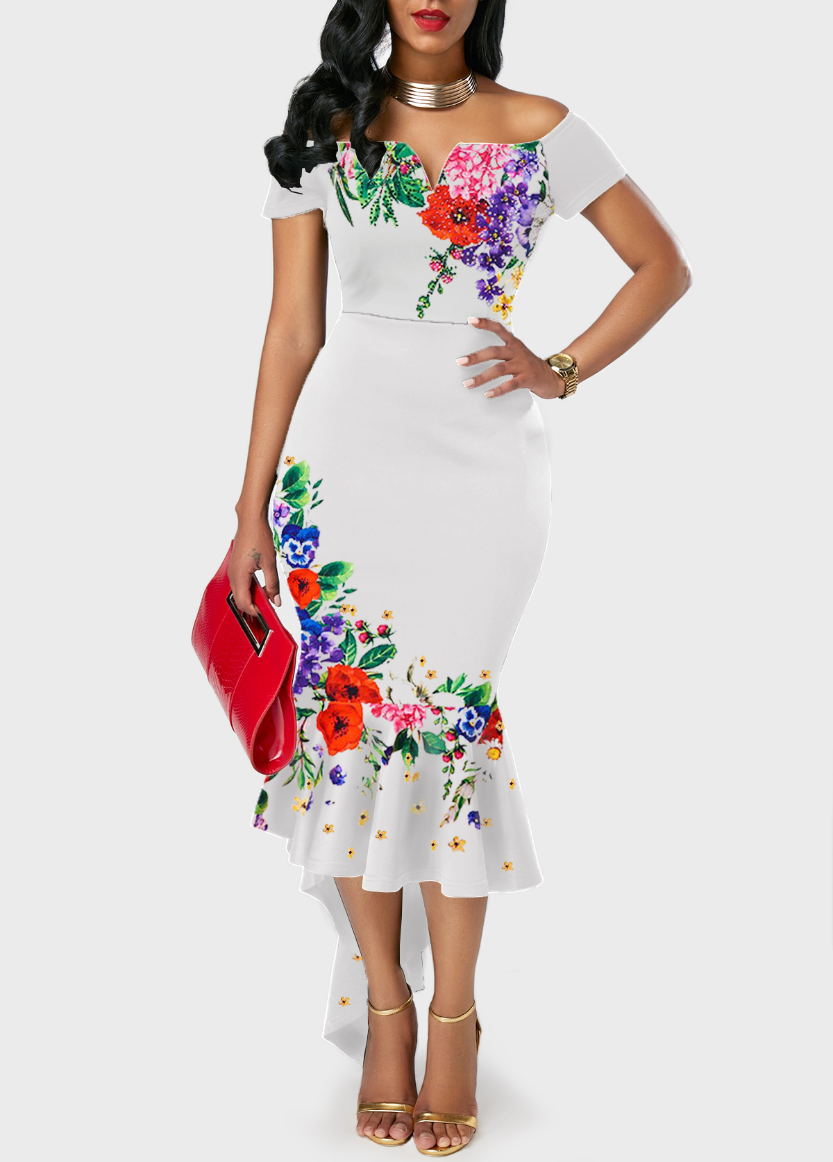 Off the Shoulder Flower Print Ruffle Hem White Dress