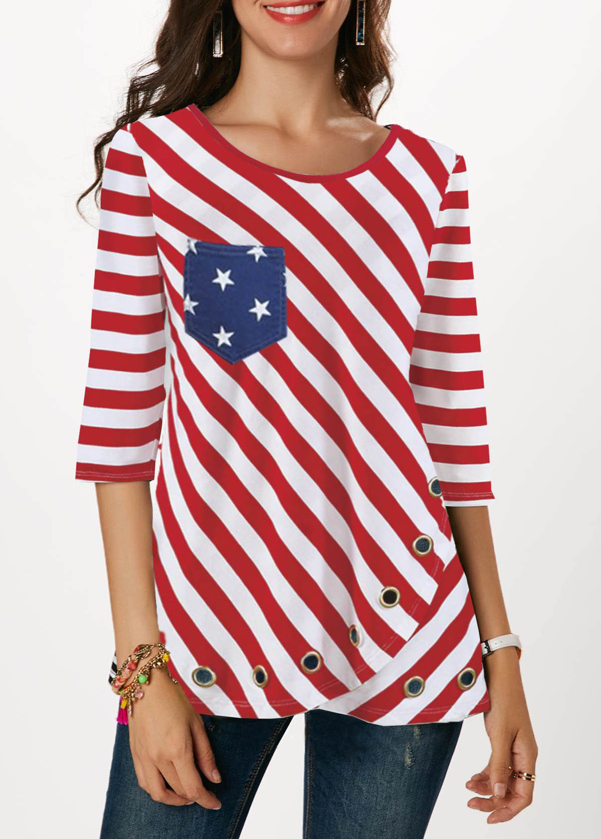 Metal Eyelet Detail Flag Print Red T Shirt