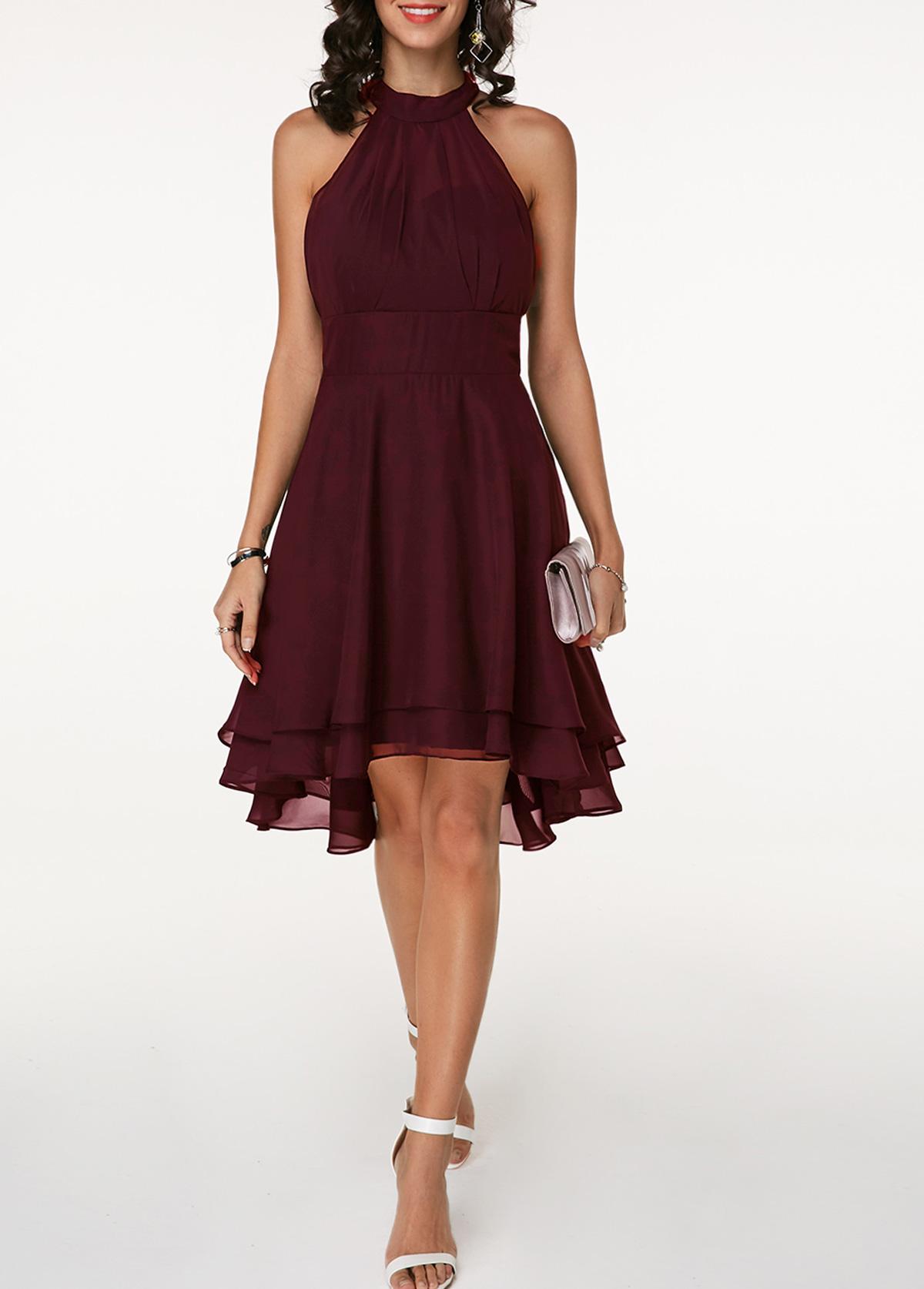Asymmetric Hem Sleeveless High Waist Chiffon Dress