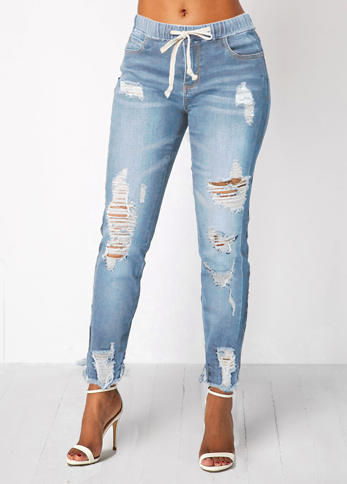 Elastic Waist Pocket Light Blue Shredded Jeans