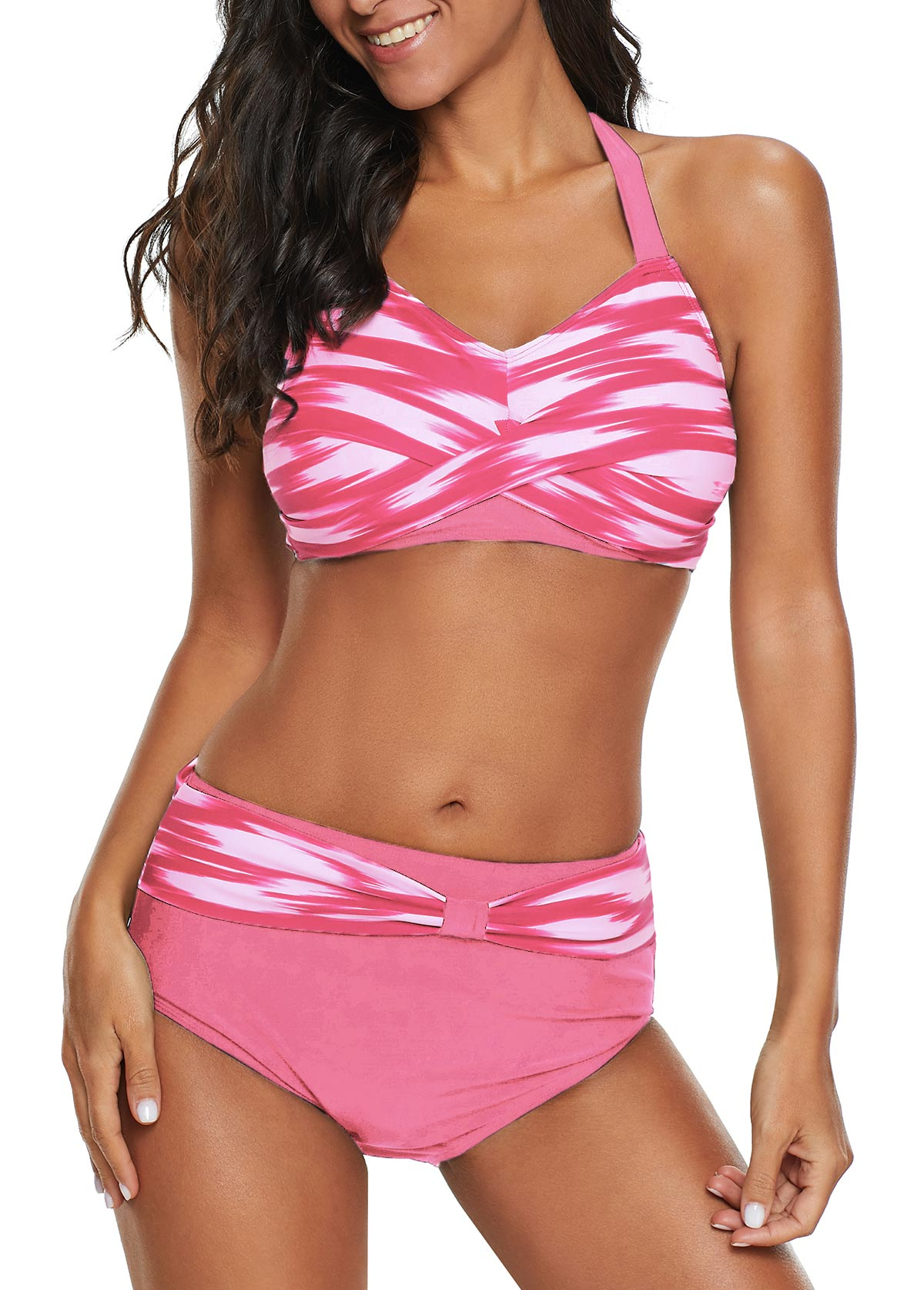 Halter Neck High Waist Twist Front Pink Bikini Set