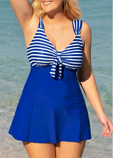 Rosewe Women Royal Blue Plus Size Strappy Striped Swimdress Swimsuit Plus Size Wide Strap Striped Swimdress and Shorts - 0X