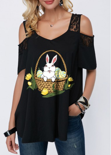 Lace Panel Cold Shoulder Easter Rabbit Print T Shirt