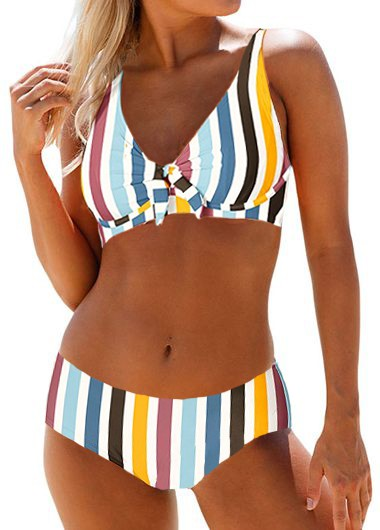 Rosewe Women Rainbow Striped Printed Underwire Two Piece Bikini Swimsuit Multi Color Mid Waist Padded Bathing Suit - L