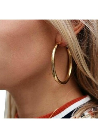 Mother's Day Gifts Gold Metal Circle Shape Earrings for Women - One Size