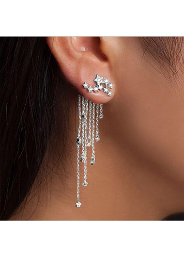 Mother's Day Gifts Silver Rhinestone Embellished Chain Tassel Earrings - One Size