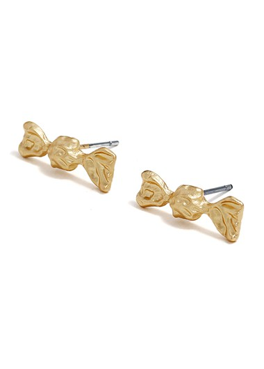Mother's Day Gifts Gold Metal Candy Shape Ear Studs - One Size