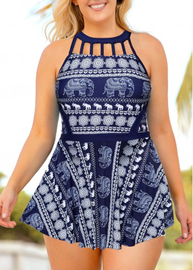 Women Plus Size Padded Swimdress Bathing Suit Navy Blue Elephant Printed Strappy Back Cage Neck Swimsuit And Shorts By Rosewe - 0X
