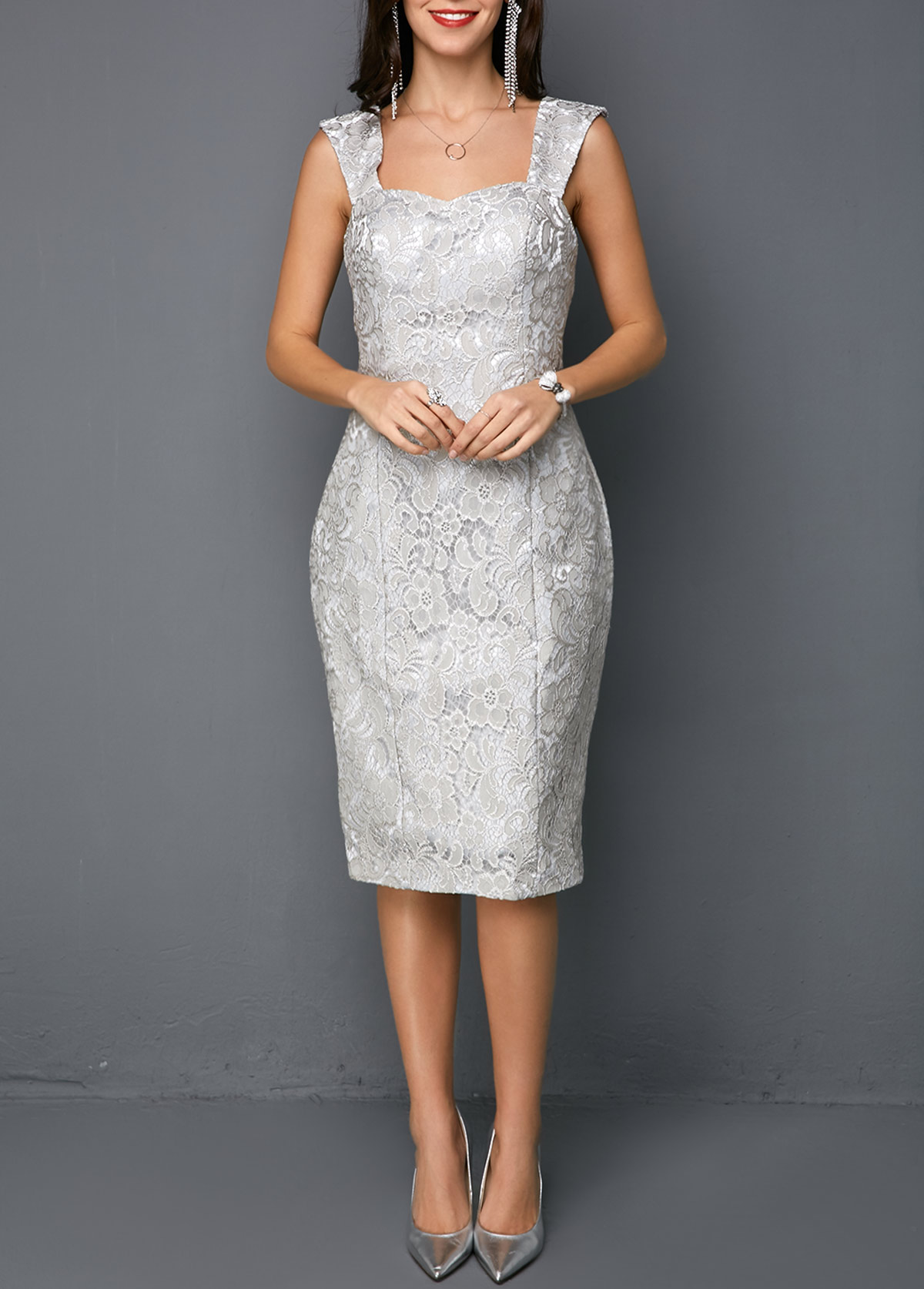 Open Front Top and Tie Back Sleeveless Sheath Dress