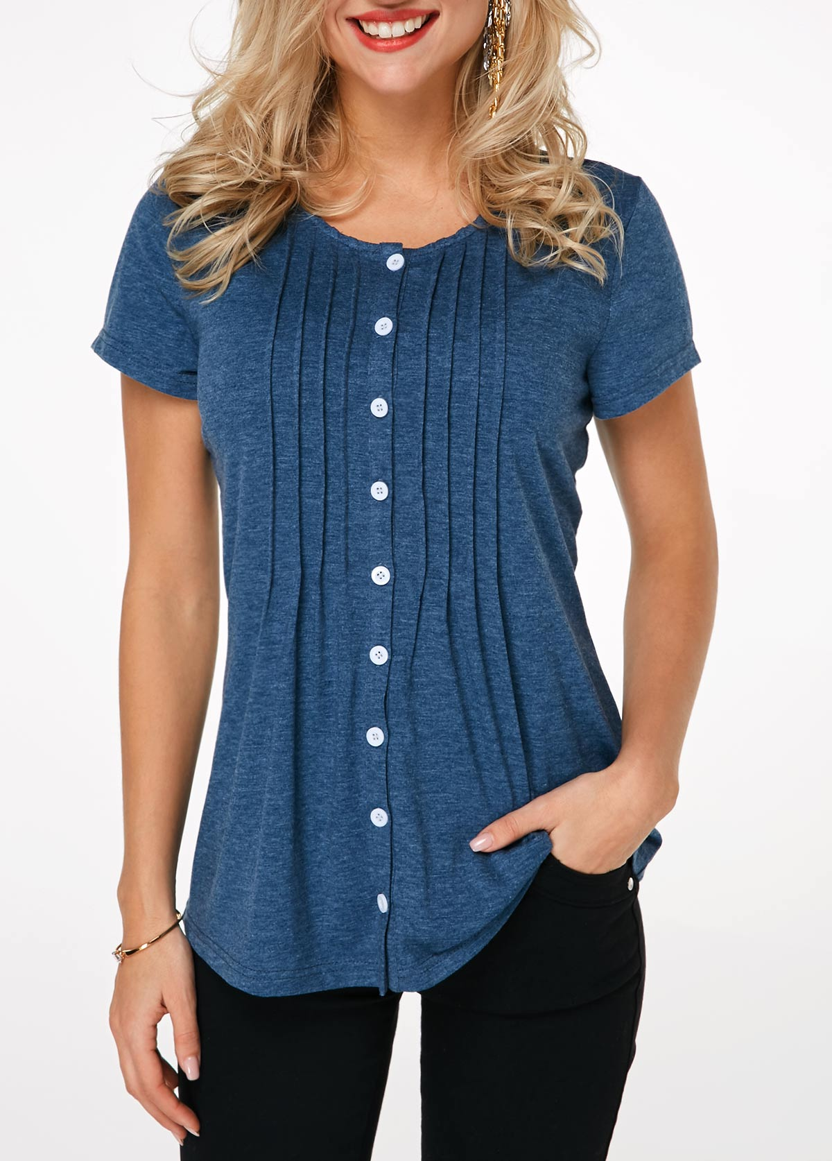 Button Up Navy Blue Crinkle Chest T Shirt