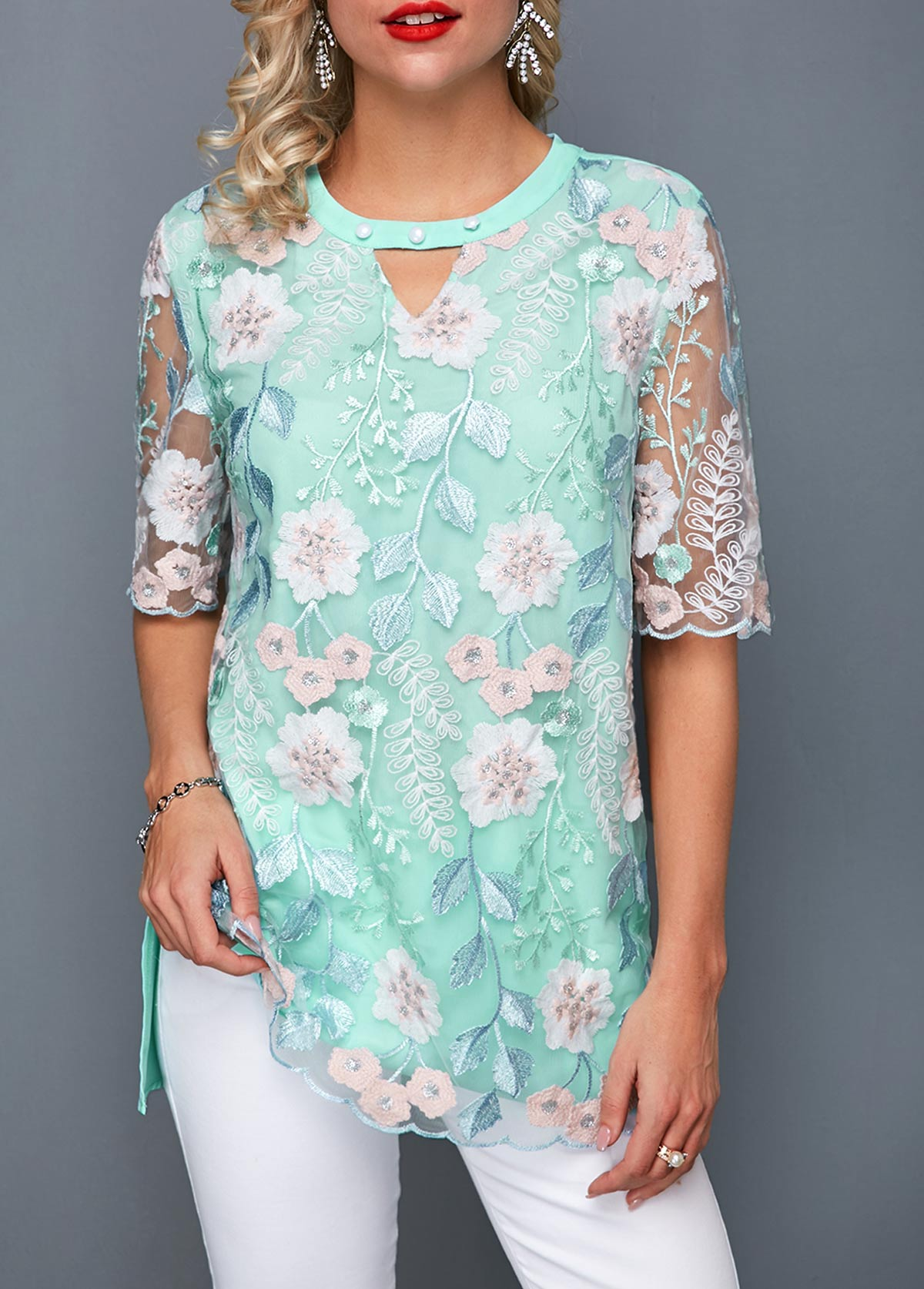 Keyhole Neckline Faux Pearl Embellished Embroidered Blouse
