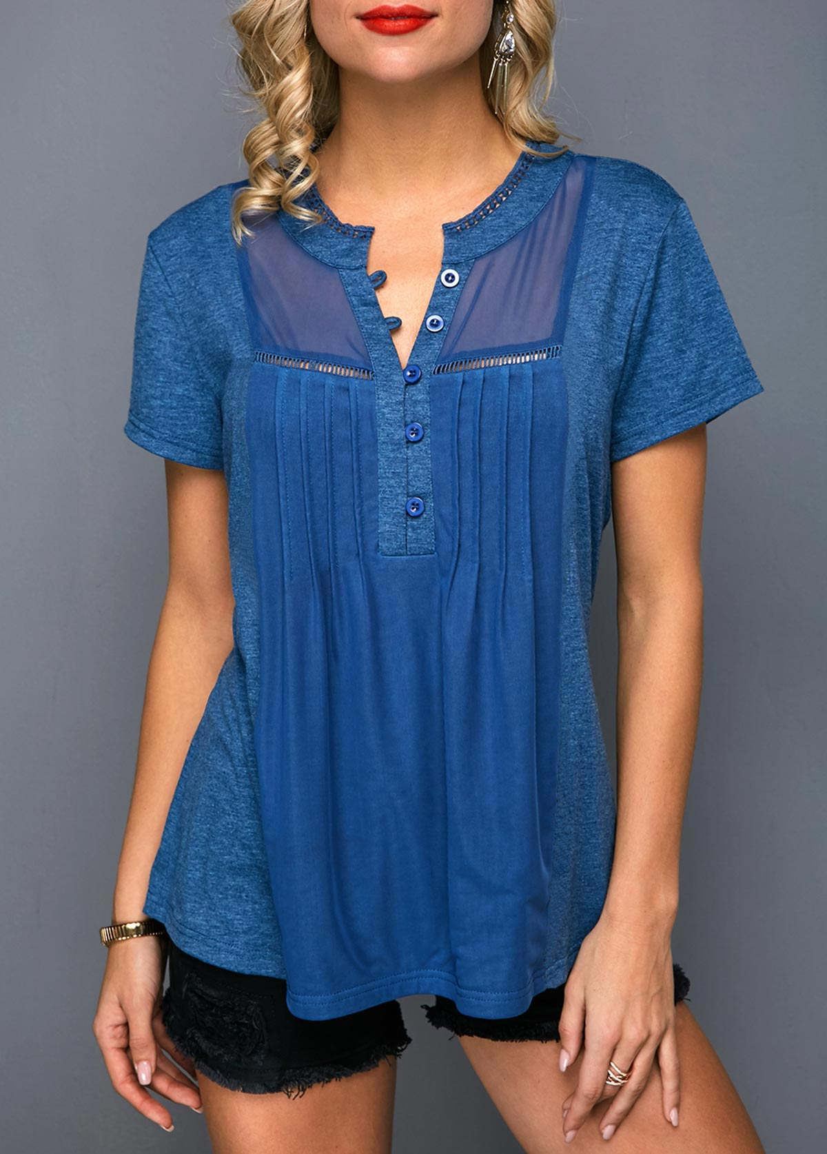 Short Sleeve Pleated Button Front T Shirt