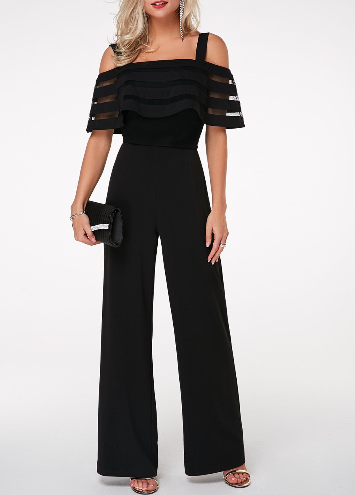 Strappy Cold Shoulder Black Overlay Embellished Jumpsuit