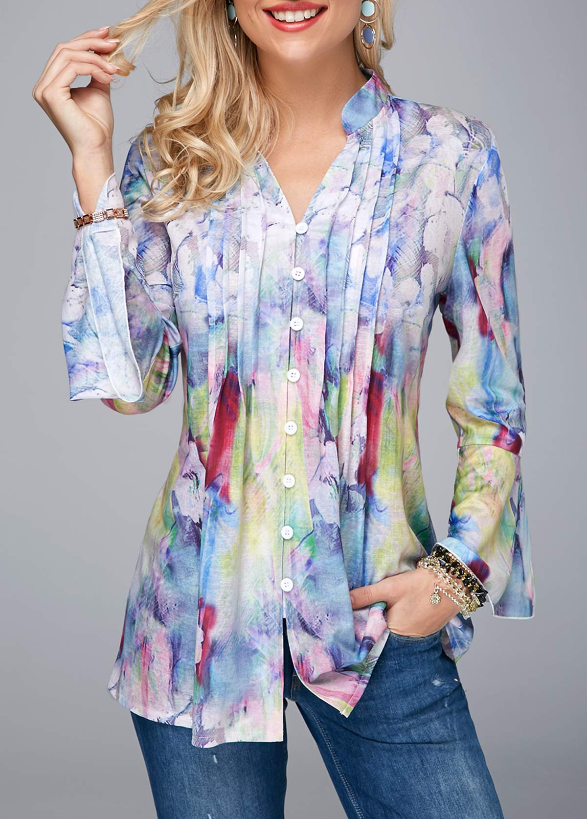 Crinkle Chest Flare Cuff Split Neck Blouse