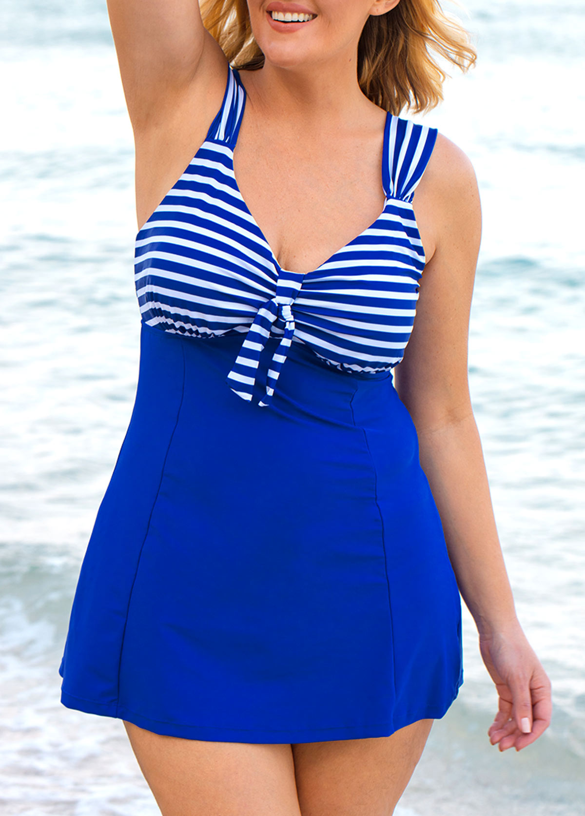 Plus Size Wide Strap Striped Swimdress and Shorts