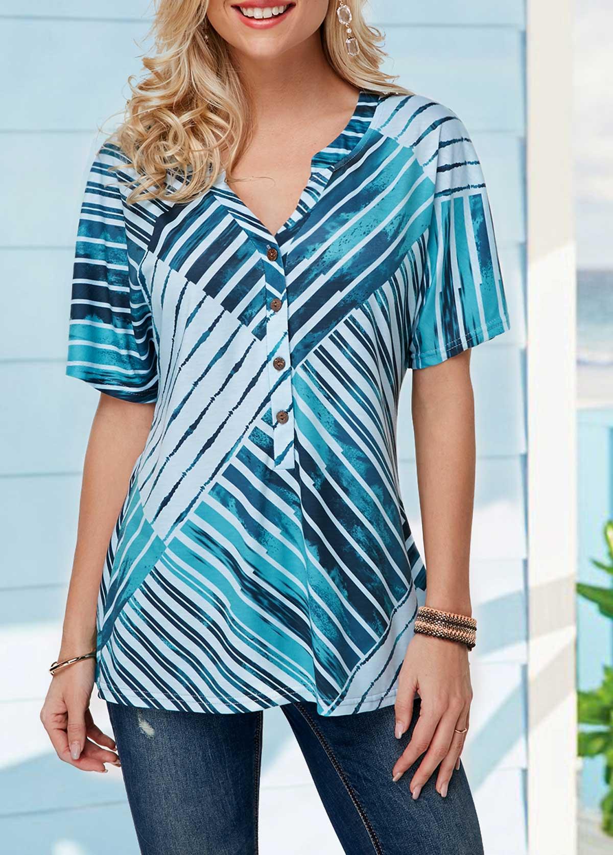 Split Neck Button Front Striped T Shirt