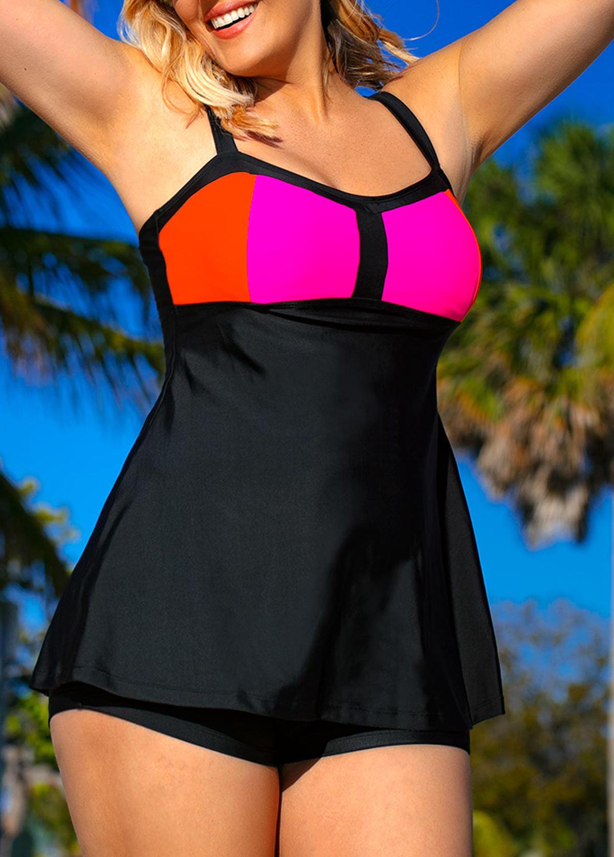 Plus Size Black Swimdress and Shorts