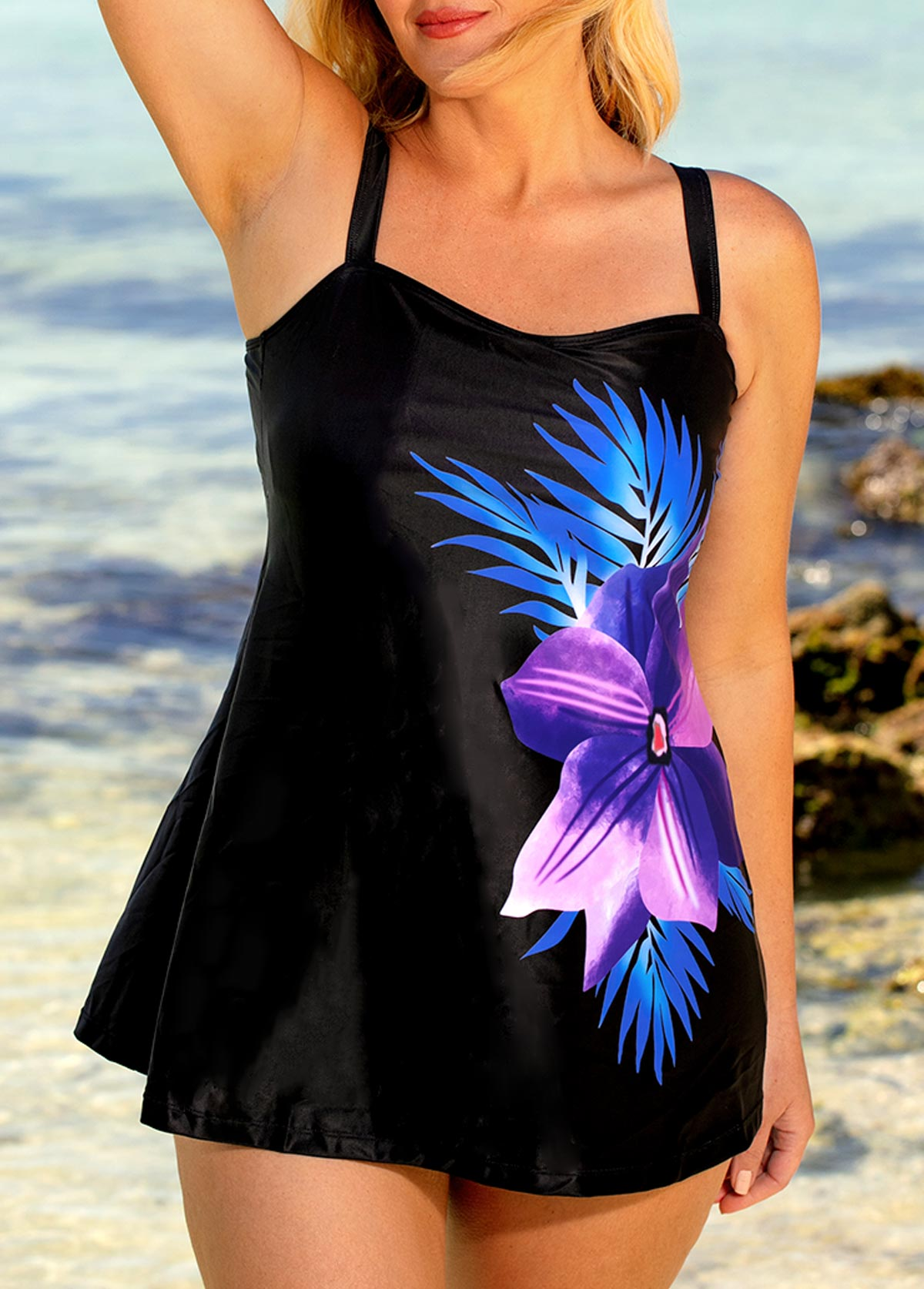 Plus Size Black Spaghetti Strap Printed Tankini Set