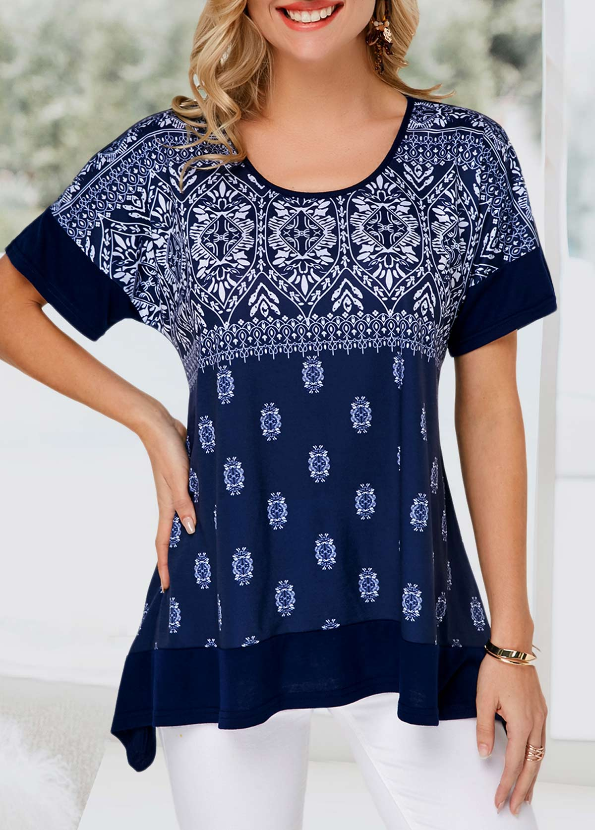 Flare Hem Short Sleeve Tribal Printed T Shirt