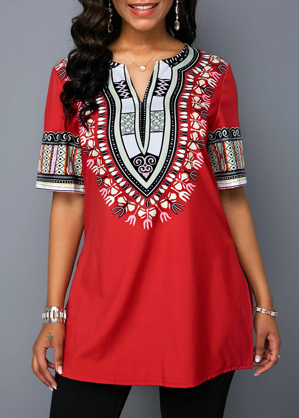 Side Slit Split Neck Dashiki Print Blouse