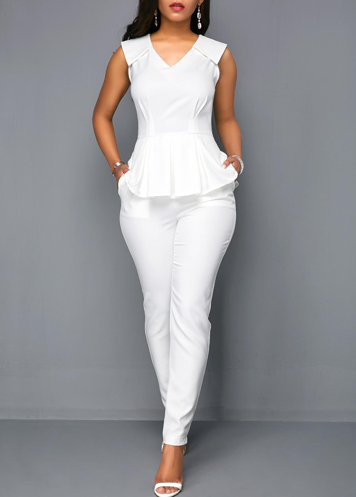 White V Neck Sleeveless Peplum Jumpsuit