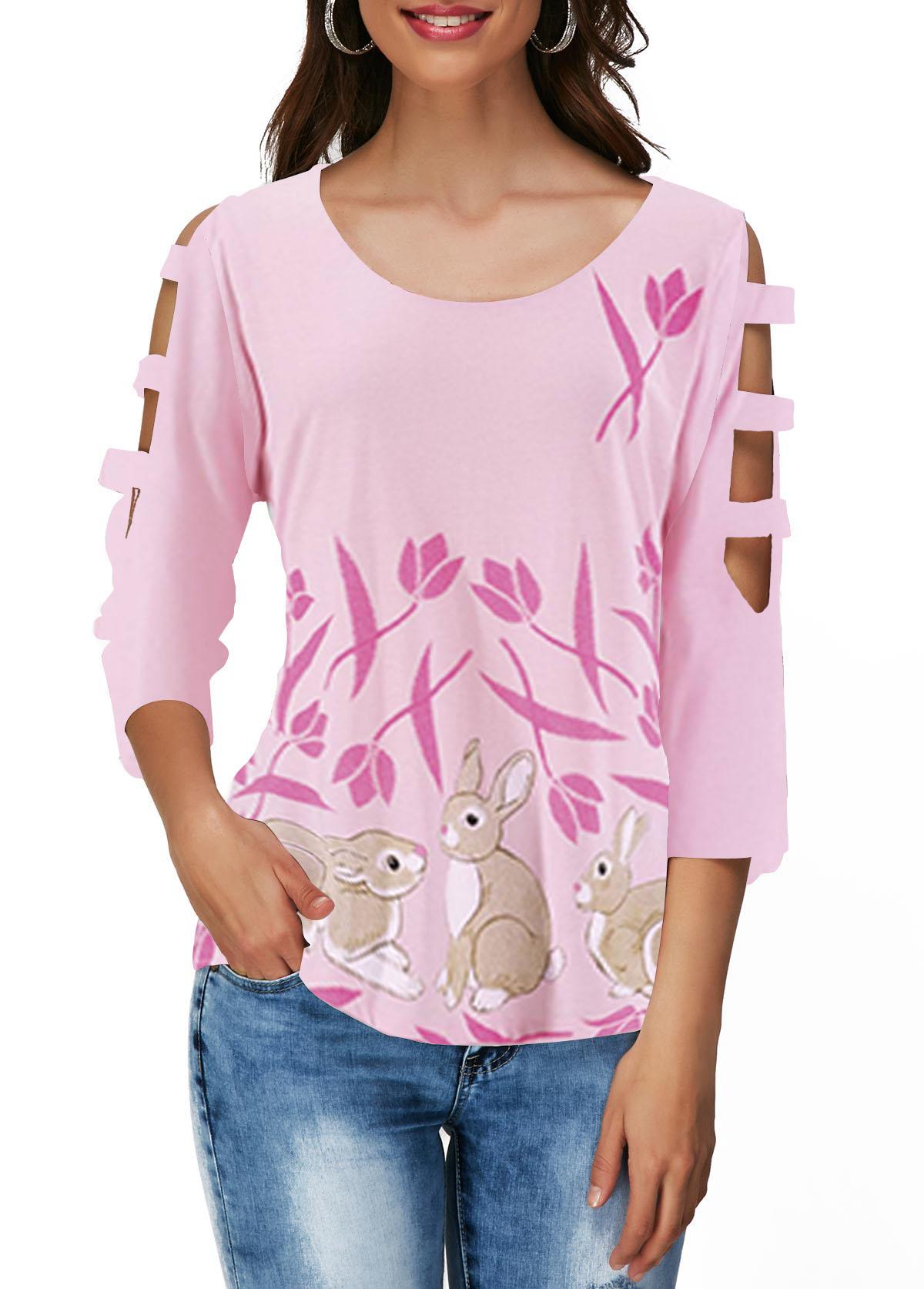 Cutout Sleeve Light Pink Easter Rabbit Print T Shirt