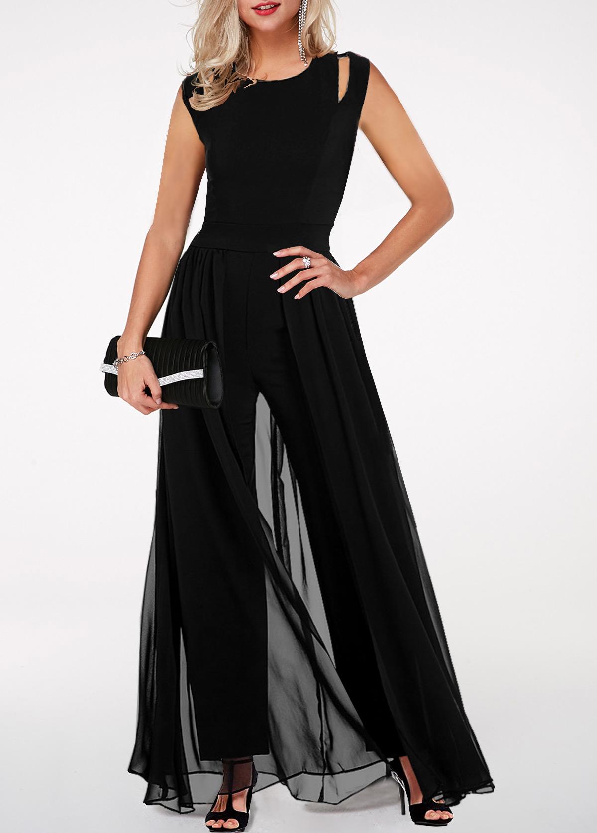 Black High Waist Round Neck Chiffon Overlay Jumpsuit