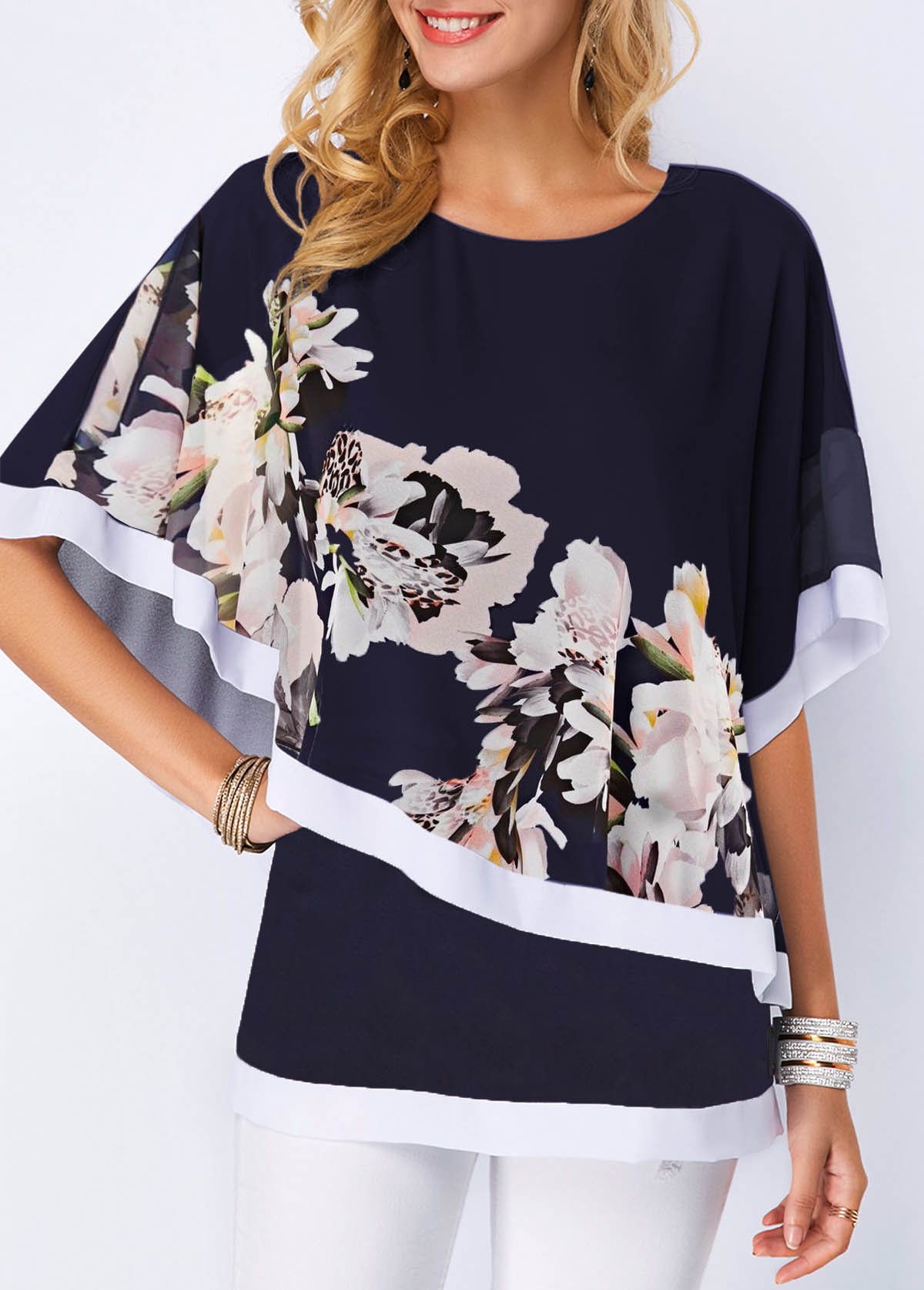 Round Neck Overlay Embellished Flower Print Blouse
