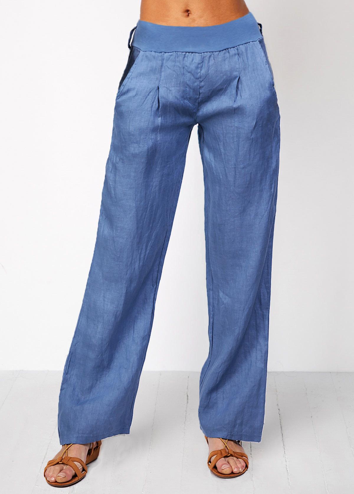 Denim Blue Wide Waistband High Waist Jeans