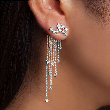 Silver Rhinestone Embellished Chain Tassel Earrings