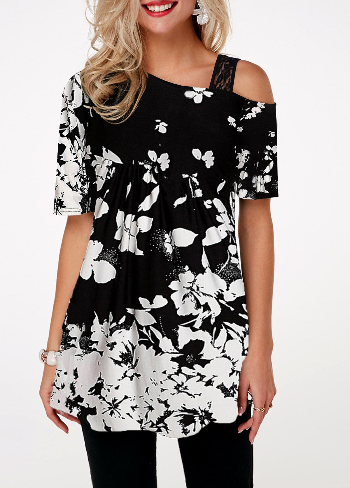 Lace Detail Flower Print Cold Shoulder T Shirt