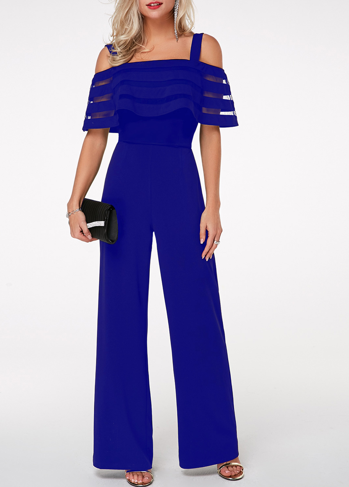 Zipper Back Strappy Cold Shoulder Overlay Jumpsuit