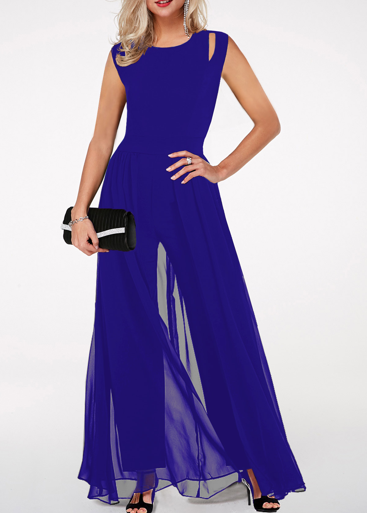 Royal Blue Round Neck High Waist Jumpsuit